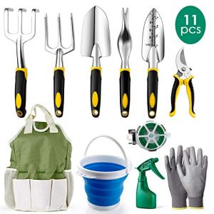 Amzdeal Garden Tool Set Gardening Tool Kits in Chrome-Plated Aluminum Alloy,Garden Accessories Tools Organizer Set Heavy Duty Gardening Work Set with Ergonomic Handle for Women/Men/Gardeners(11Pcs)