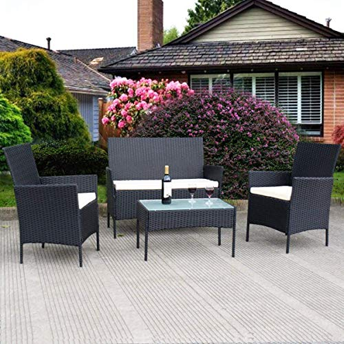 Tangkula AM0592HM Wicker Furniture Set, Black 001