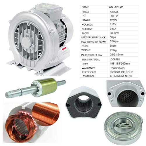 Ring Blower For Fish Tank Regenerative blower 110V 60HZ SINGLE PHASE Centrifugal blower Aluminum Alloy (2WN-120W-110V60HZ)