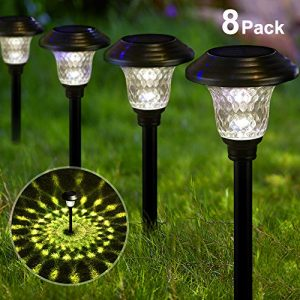 BEAU JARDIN Solar Lights Pathway Outdoor Garden Path Glass Stainless Steel Waterproof Auto On/off Bright White Wireless Sun Powered Landscape Lighting for Yard Patio Walkway Landscape Spike Path Light
