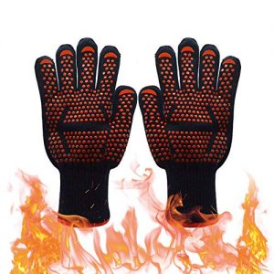 Barbecue Gloves Mit Pot Holder Gloves,Cut Resistant Grill Accessories Garden BBQ Grilling Cooking Gloves Welding Gloves Baking Oven Mitts,1 Pair