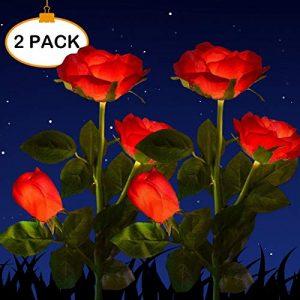 HELESIN Solar Powered Garden Decorations Lights, LED Rose Flower Garden Decorative Stake Lights for Garden, Courtyard, Backyard Decoration, Waterproof (Red)