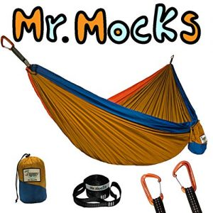 Mr. Mocks Double Hammocks with Light Weight Tree Straps and Aluminum 12kn Carabiners (Wild Turkey)