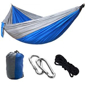 Outdoors Cotton Fabric Canvas Travel Hammocks with Tree Ropes 330lbs Ultralight Camping Hammock Portable Beach Swing Bed with Hardwood Spreader Bar Tree Hanging Suspended Outdoor Indoor Bed
