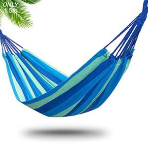 DUT Garden Camping Hammock, Portable Hammock – Perfect for Camping & Outdoors or Gardens and Travel – Max Load 150kg (Single Hammock, Blue)