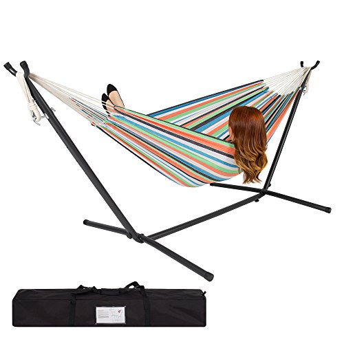 Best Choice Products 2-Person Double Hammock Set for Indoor, Outdoor w/ Steel Stand, Carrying Case - Rainbow Stripes
