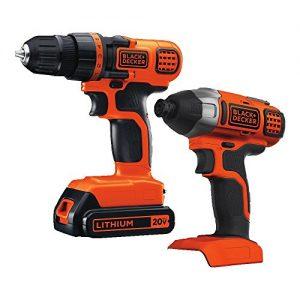 BLACK+DECKER 20V MAX Cordless Drill Combo Kit, 2-Tool (BD2KITCDDI),Black/Orange Impact Combo Kit