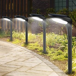 Outdoor Solar Pathway Lights Landscape Path Light with 2 Modes [Cool White & Warm White] Waterproof LED Spot Lighting Solar Powered Ground Lights for Garden Driveway Lawn Decorations,4 Pack