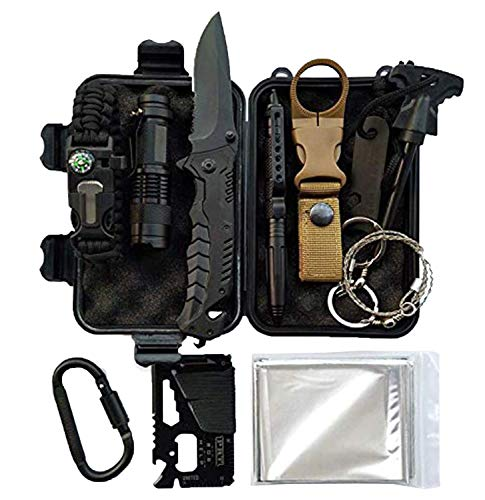 Lit Fitness Survival Kits 12-in-1 Emergency Survival Kit, Including Rock Climbing Gear, Emergency Blankets, Survival Bracelet, Tactical Pen, Tactical Flashlight, Gift Sets for Men