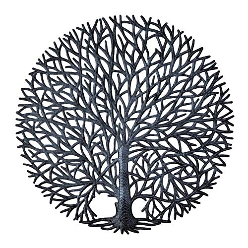 It's Cactus Haitian Tree of Life Wall Plaque, Decorative Kitchen Metal Wall Hanging Art, Indoor or Outdoor Plaque, Handmade in Haiti, NO Machines Used, 24 in. x 24 in. (Tranquility Tree)