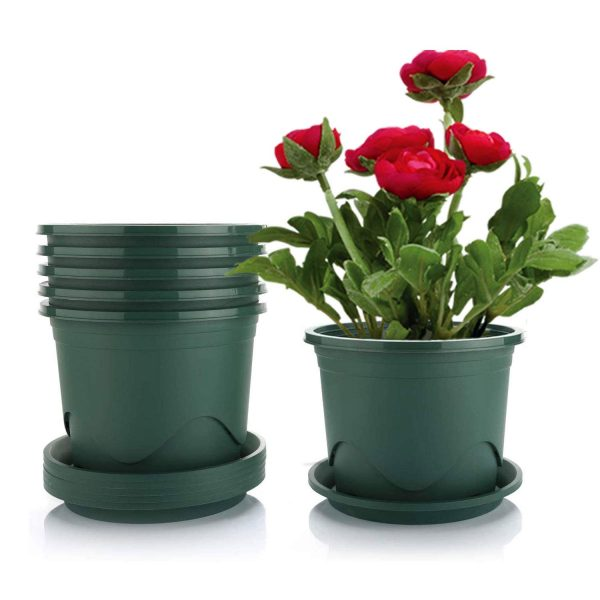 Livelyhom Plant Pots with Saucers - 1.2 Gallon 8.5 Inch Plastic Dark Green Set of 6, Root-Control Nursery Seedling Planter Garden Flower Pot Container for Indoor Outdoor Bonsai Plants, Aloe, Herb