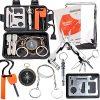 EMDMAK Survival Kit Outdoor Emergency Gear Kit for Camping Hiking Travelling or Adventures (Black)