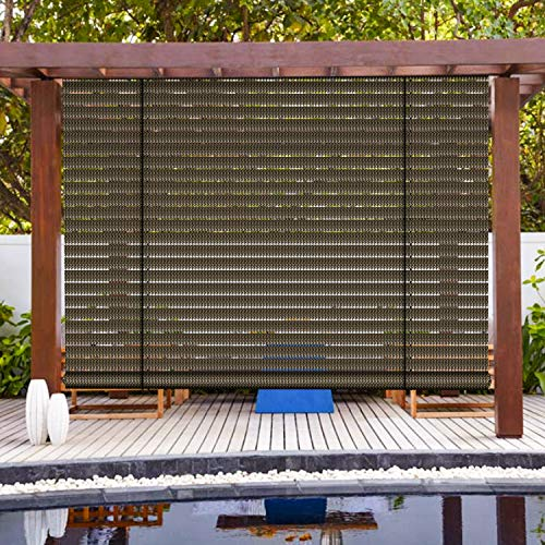 Patio Paradise Exterior Outdoor Roll up Shades Blinds Roller Shade 6'Wx6'H for Porch Deck Balcony Pergola Carport Light Filtering Hollow Out Striped Brown
