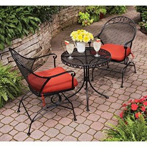 Better Homes & Gardens Clayton Court 3-Piece Motion Outdoor Bistro Set, Seats 2 for a (Red)