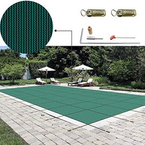 Happybuy Pool Safety Cover 18x36ft Rectangle Inground Safety Pool Cover Green Mesh Solid Pool Safety Cover for Swimming Pool Winter Safety Cover