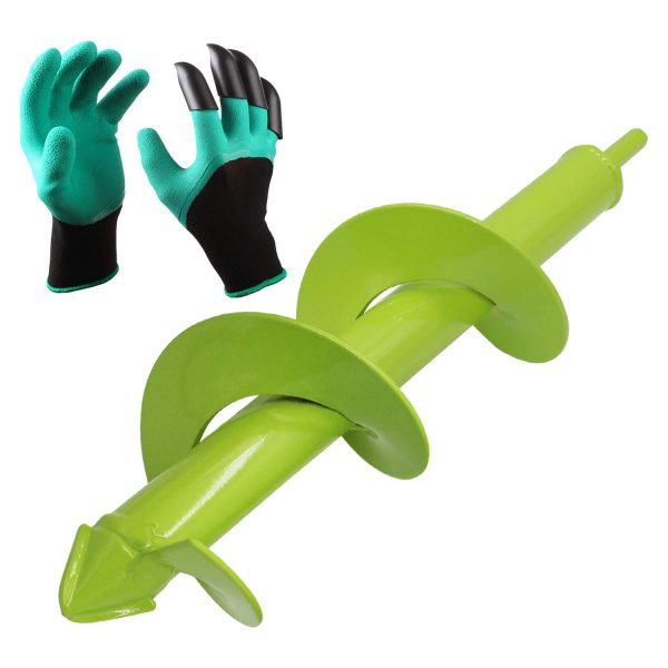 """[Upgrade Version] Blika Auger Drill Bit, fits Rocky Soil & Clay, Garden Plant Flower Bulb Auger 3"""" x 12"""" Rapid Planter with Garden Genie Gloves, Post or Umbrella Hole Digger for 3/8"""" Hex Drive Drill"""