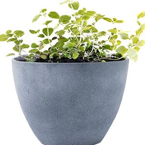 "Large Planter Outdoor Flower Pot, Garden Plant Container with Drainage Holes (Weathered Gray, 14.2"")"