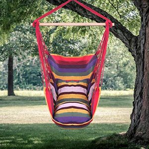 DuraB Hanging Rope Hammock Chair Swing Seat for Yard, Bedroom, Patio, Porch, Any Indoor or Outdoor - 2 Seat Cushions Included (Rainbow)