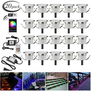 "LED Deck Lights Kit, 20pcs Φ1.22"" WiFi Wireless Smart Phone Control Low Voltage Recessed RGB Deck Lamp In-ground Lighting Waterproof Outdoor Yard Path Stair Landscape Decor, Fit for Alexa,Google Home"
