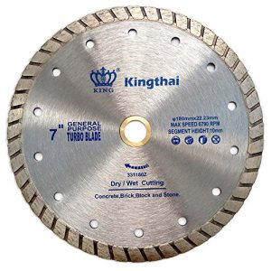 "Kingthai 7 Inch Concrete Turbo Rim Diamond Blade for Masonry Stone, 7/8""-5/8"" Arbor"
