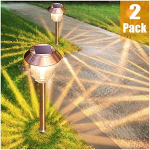 Solar Garden Lights Outdoor Pathway Lights Glass Stainless Steel Waterproof Solar Powered Landscape Lights for Yard Patio Lawn Path Walkway, Super Bright 12-32 Lumens, 2 Pack