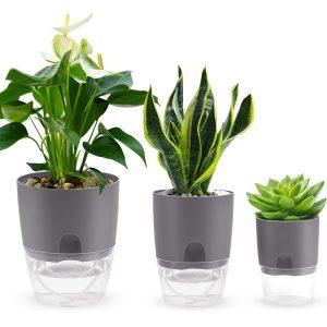 FOCHEA Succulents Planter Pot,Cactus Plant Pot,Flower Pot, Green Plant Container,Multi-Size Plant Pot of Visual Modern Round Plastic Pots(Matte-Gray)