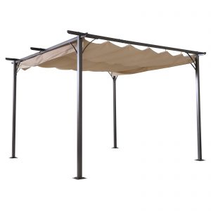 Outsunny 11.5' x 11.5' Retractable Pergola with Canopy Outdoor Gazebo for Backyard, Classic Steel Frame Style