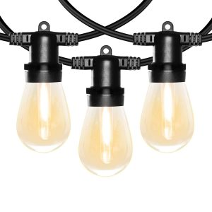 Banord 51FT Outdoor Shatterproof LED String Lights, Waterproof 17 Hanging Sockets with 18 x Dimmable LED Bulb Garden Light String, Waterproof Vintage Patio Lights for Wedding Party