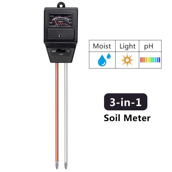 Soil pH Meter, 3-in-1 Soil Test Moisture Light pH Monitor Testing Tool Kit Indoor Outdoor Plants Vegetables Herbs Care Soil Sensor for Home, Garden, Farm and Lawn
