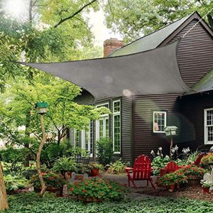 Rectangle Sun Shade Sail Canopy, 10' x 14' Patio Shade Cloth Outdoor Cover - UV Block Sunshade Fabric Awning Shelter for Pergola Backyard Garden Carport (Grey)