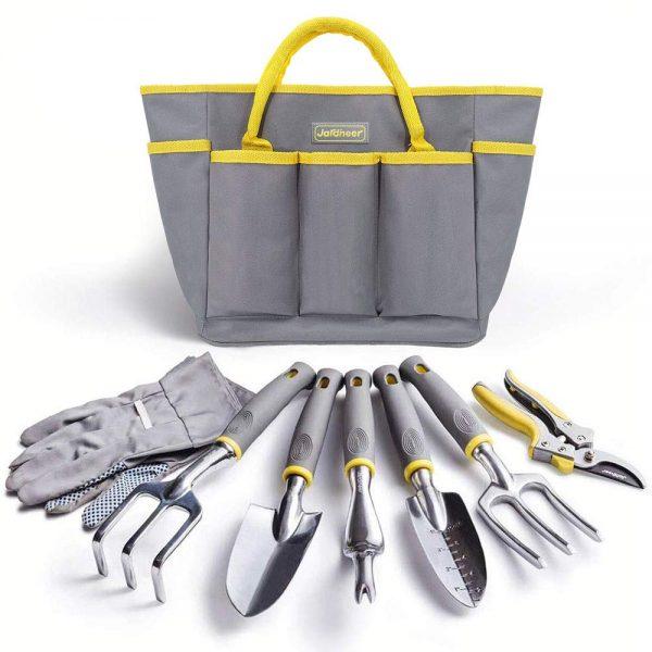 Jardineer Garden Tool Set, 8PCS Garden Tool Kit with Garden Tools, Garden Gloves and Gardening Tools Bag, Perfect Gardening Tool SetGifts for Woman and Men