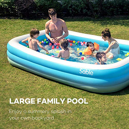 """Sable Inflatable Pool, Blow Up Family Full-Sized Pool for Kids, Toddlers, Infant & Adult, 118"""" X 72"""" X 20"""", Swim Center for Ages 3+, Outdoor, Garden, Backyard, Summer Water Party"""