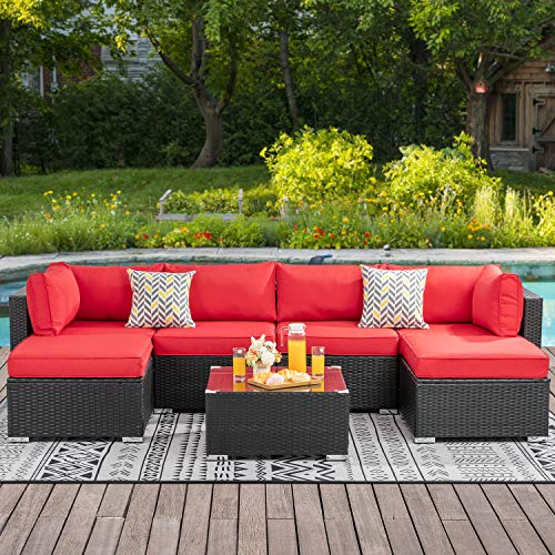 Walsunny 7pcs Patio Outdoor Furniture Sets,Low Back All-Weather Rattan Sectional Sofa with Tea Table&Washable Couch Cushions&Ottoman (Black Rattan(Red)