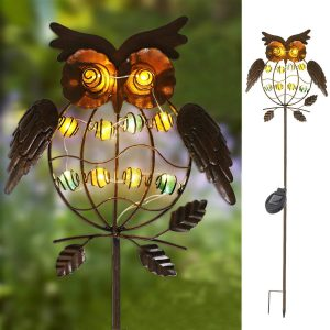 TAKE ME Garden Solar Lights Outdoor,Solar Powered Stake Lights - Metal OWL LED Decorative Garden Lights for Walkway,Pathway,Yard,Lawn (Multicolor) (Multicolor)