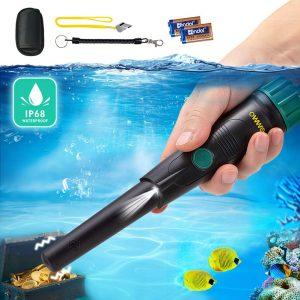 OMMO Pinpointer Metal Detector, IP68 Waterproof Metal Detector Buzzer Vibration Automatic Tuning, Pinpointer with Holster for Treasure Hunting, Included 29v Battery
