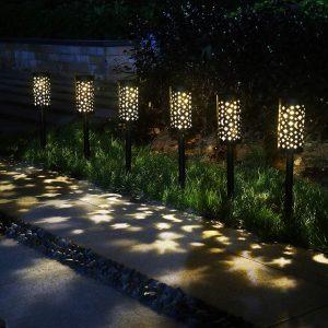 6 Pack Solar Lights Outdoor Garden Stake Light Star Moon Solar Lantern Solar Hanging Lanterns Decorative for Patio Courtyard Party Walkway Terrace Garden Lawn Black