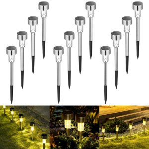 Sowsun Solar Pathway Lights Outdoor ,Solar Powered Landscape Garden Lights for Pathway ,Lawn, Patio, Yard,Path,Walkway Decoraiton-12 Pack(warm white)