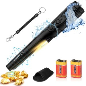 FYSMY Fully Waterproof Pinpoint Metal Detector, Pinpointer with 2-Pack 9V Battery, Gold Hunter Vibration Beep LED Indicator Detector,360°Search Treasure Pinpointing Finder Probe (Black)