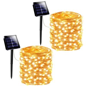 SANJICHA Solar String Lights Outdoor, 2-Pack Each 200LED Upgraded Super Bright Solar Lights Outdoor, Waterproof Copper Wire 8 Modes Fairy Lights for Garden Patio Tree Party Decorations (Warm White)