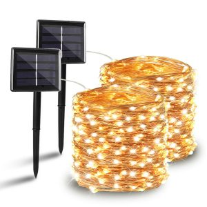 BHCLIGHT 2 Pack Solar String Lights, Upgraded Durable 200 LED Solar Lights Outdoor, Waterproof Copper Wire 8 Modes Fairy Lights for Home Decor Wedding Patio Garden Party Decorations (Warm White)
