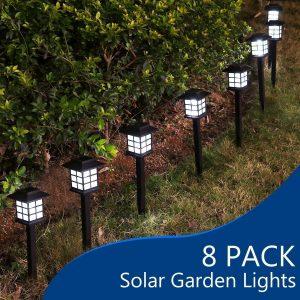 "YUNLIGHTS 8pcs Garden Solar Stake Lights Outdoor Solar Pathway Lights Waterproof, 14.9""x3.3"" Solar Landscape Lights for Garden Path, Walkway, Lawn - White"