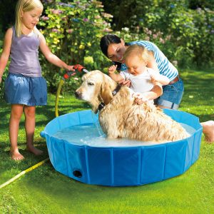 "Foldable Dog Bath Pool Collapsible Dog Swimming Pool Pet Portable Bathing Tub for Kids Pets Dogs Cats - Large 47"" X 12"""