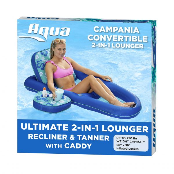 AQUA Campania Ultimate 2 in 1 Recliner & Tanner Pool Lounger with Adjustable Backrest and Caddy, Inflatable Pool Float, Teal Hibiscus