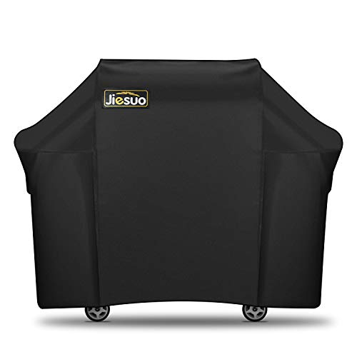JIESUO BBQ Gas Grill Cover for Weber Genesis: Heavy Duty Waterproof 60 Inch 3 Burner Weather Resistant Ripstop UV Resistant Outdoor Barbeque Grill Covers