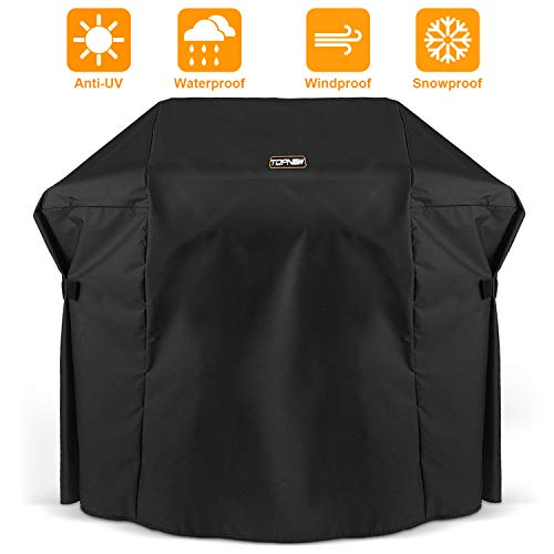 TOPNEW BBQ Gas Grill Cover, 600D Heavy Duty Waterproof UV Resistant Weather Resistant Durable Outdoor Barbeque Grill Cover for Most Grill (58 Inch, Black)