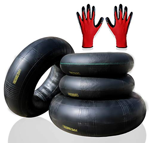 """FreeBird 4 Pack Replacement Inner Tubes for Lawn Mower Tires 2 x 15x6.00-6"""" for Front and 2 x 20x8.00-8"""" or 20x10.00-8"""" for Rear with TR-13 Valve Stem Complete with Gloves Set"""