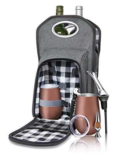 Wine Tote Picnic 6 pc. Travel Set: Wine Bag | Rose Gold Vacuum Insulated Stemless Tumblers & Lids | Bottle Pourer & Aerator | Waiters Corkscrew Opener | Cork Stopper. The Perfect Wine Carrier Gift!