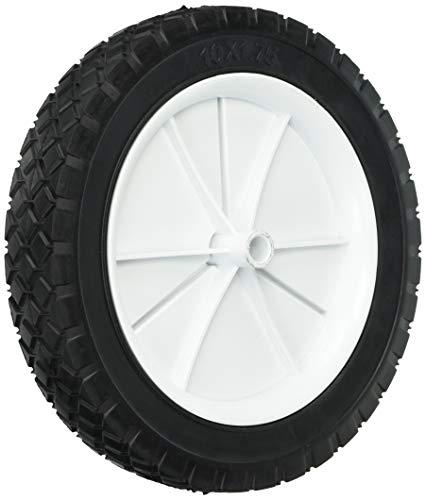 Shepherd Hardware 9615 10-Inch Semi-Pneumatic Rubber Replacement Tire, Plastic Wheel, 1-3/4-Inch Diamond Tread, 1/2-Inch Bore Offset Axle,White
