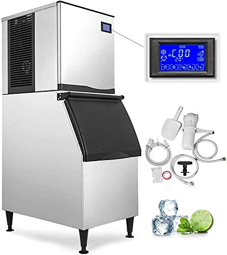 VEVOR 110V Commercial Ice Maker 550LBS/24H with 350LBS Bin, Full Clear Cube, LCD Panel, Stainless Steel Construction, Quiet Operation, Auto Clean, Air Cooling, Professional Refrigeration Equipment
