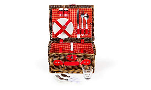 Lexi Home Wicker Picnic Basket for 2 or 4 | Picnic Set with Serveware | Picnic Kit with Reusable Plates, Cups, and Utensils | Picnic Gift Set (Red & White Plaid/2 Person)
